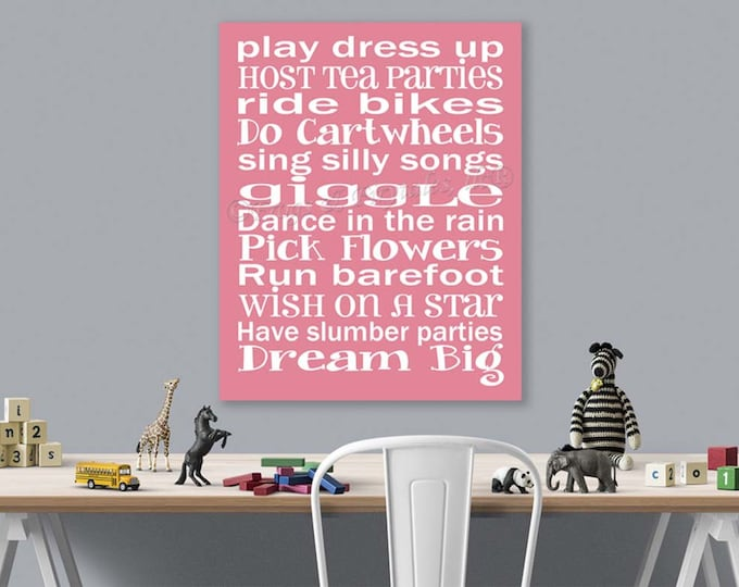 Play Dress Up Dream Big Pink White Canvas Wall Art Typography Print