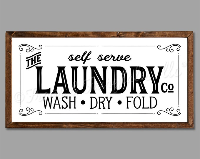"The Laundry Co 24""x12"" Vintage Laundry Room Sign Wooden Framed Canvas Print"