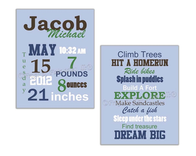 Boy Keepsake Birth Announcement Dream Big Canvas Wall Art