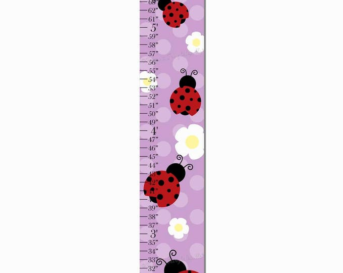 Ladybug Purple Polka Dot Flower Canvas Growth Chart Print Height Chart Ruler