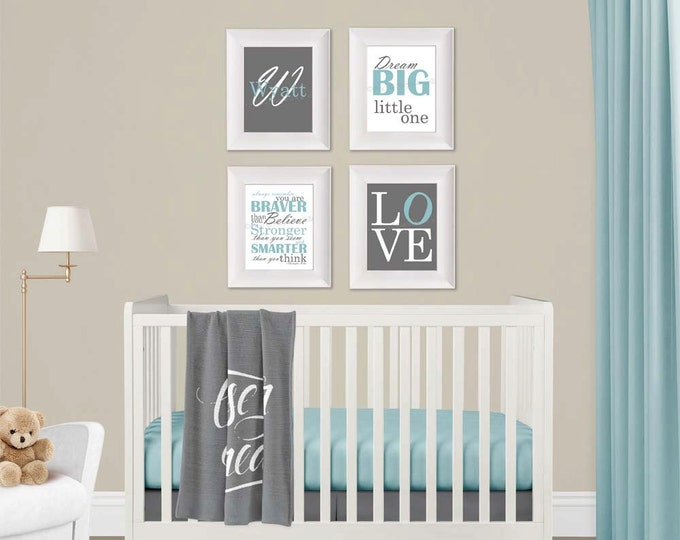 Personalized Wall Art in Light Blue and Grey Photo Paper Prints Free Shipping