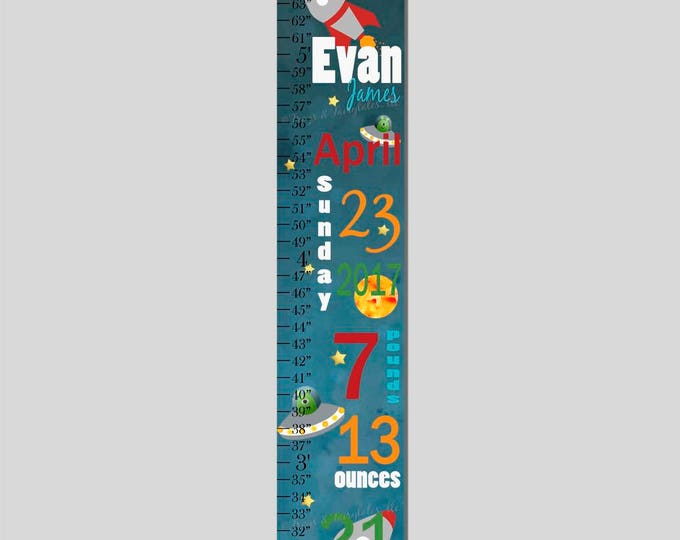 Outer Space Birth Information Rocketship Canvas Growth Chart Print, Height Chart, Ruler