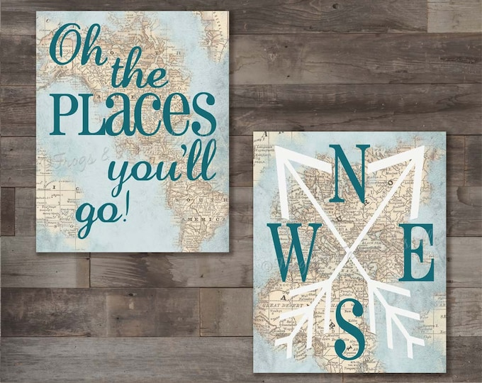 Oh The Places You'll Go Map Canvas Wall Art Print Set
