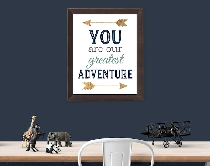 You Are Our Greatest Adventure Navy Green and Rustic Gold Arrows Photo Paper Print Free Shipping