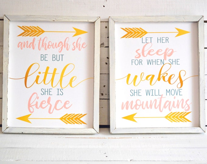 And Though She Be But Little Let Her Sleep for When She Wakes She Will Move Mountains Wooden Framed Canvas Print