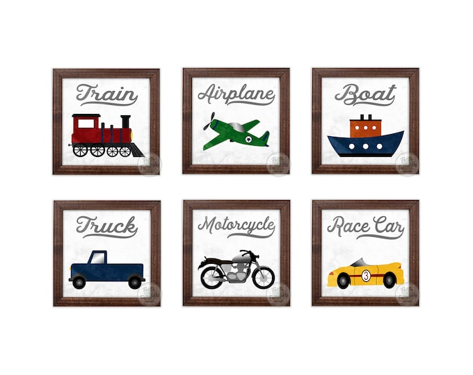 Transportation Themed Vintage White and Gray Rustic Wooden Framed Wall Art Set