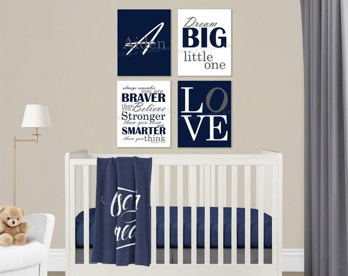 Baby Boy Nursery Navy Grey Canvas Wall Art Love Dream Big Name Christopher Robin Quote
