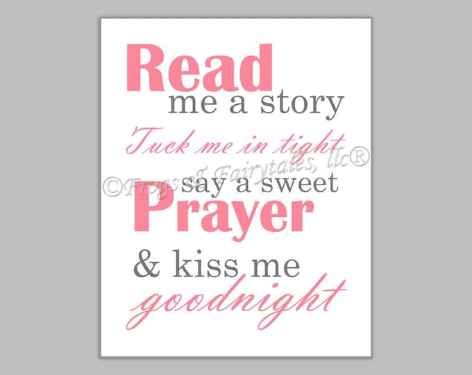 Read Me a Story Tuck Me in Tight Say a Sweet Prayer and Kiss Me Goodnight pink gray canvas print wall art