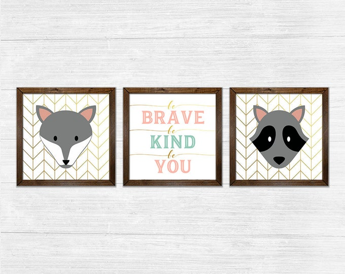 Be Brave Be Kind Be You Gender Neutral Twins Coral Gold Canvas Rustic Wood Framed Wall Art Set