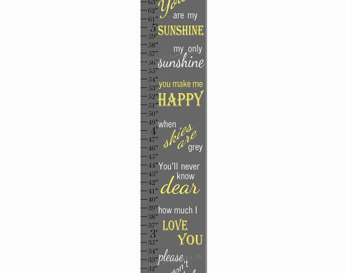 You Are My Sunshine Canvas Print Growth Height Chart Ruler