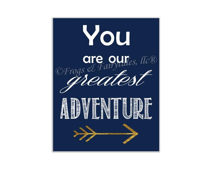 You Are Our Greatest Adventure Navy Gold Canvas Wall Art Print