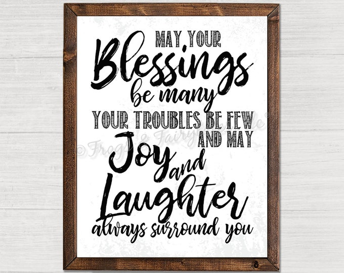 May Your Blessing Be Many Rustic Background Housewarming Gift Wooden Framed Canvas Print