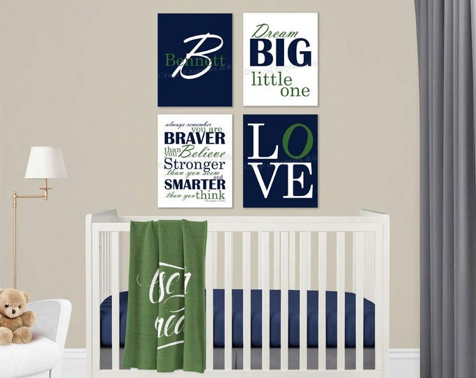 Baby Boy Nursery Navy Green Canvas Wall Art Love Dream Big Name Christopher Robin Quote