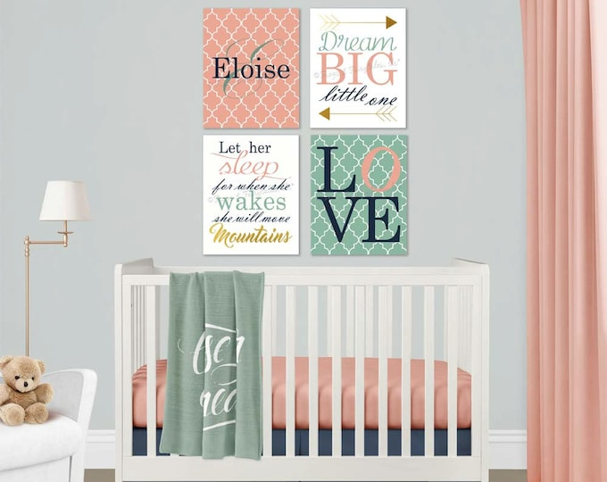 Initial Dream Big She Will Move Mountains Love Coral Mint Navy White Gold Baby Girl Nursery Canvas Wall Art