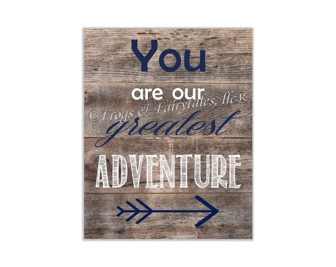 You Are Our Greatest Adventure Navy Wood Canvas Wall Art Print