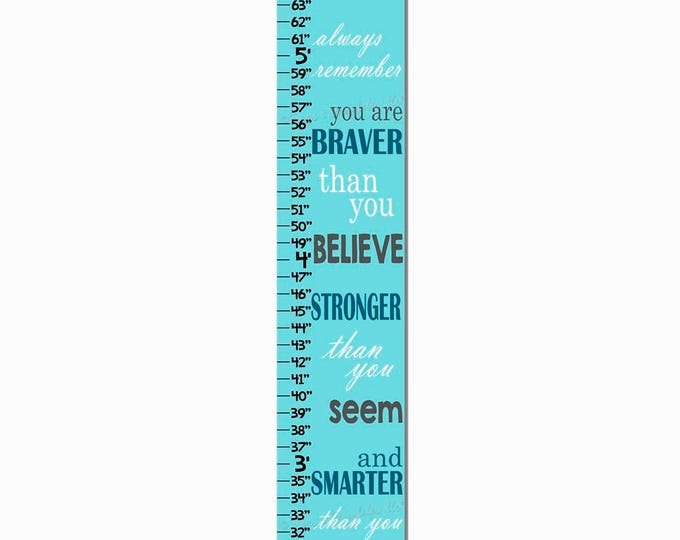 You Are Braver Aqua Christopher Robin Quote Canvas Print Growth Chart Height Ruler