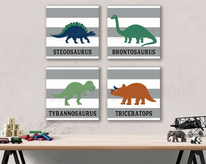 Dinosaur Striped Canvas Wall Art Prints