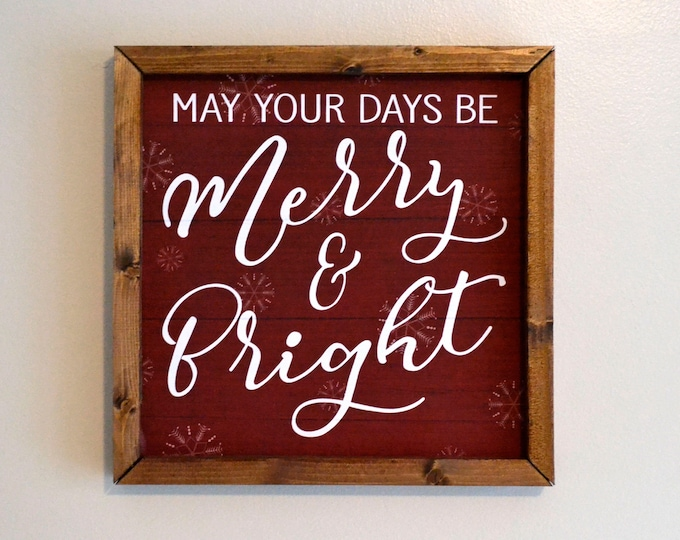 May Your Days Be Merry and Bright Wooden Framed Canvas Wall Art