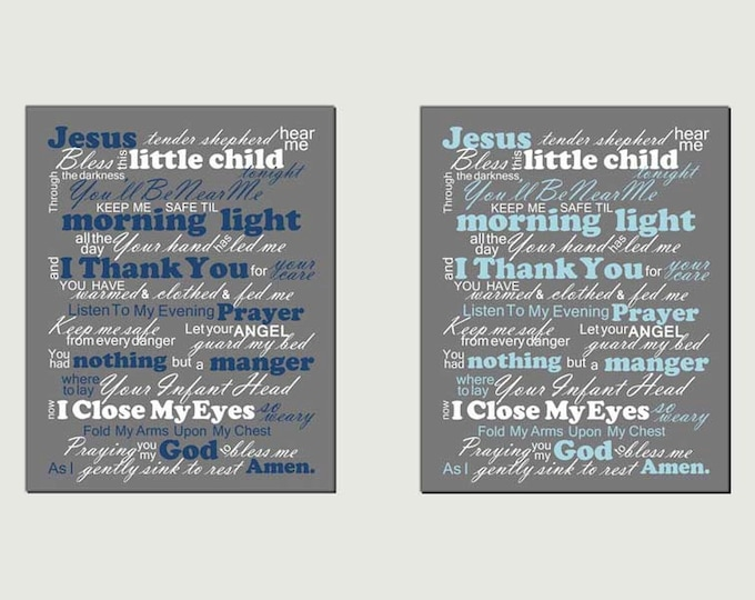 Bedtime Prayer Typography Photo Paper Print Free Shipping
