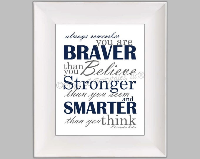 Christopher Robin Always Remember You are Braver Than You Believe Navy Gray Paper Print Wall Art Free Shippng
