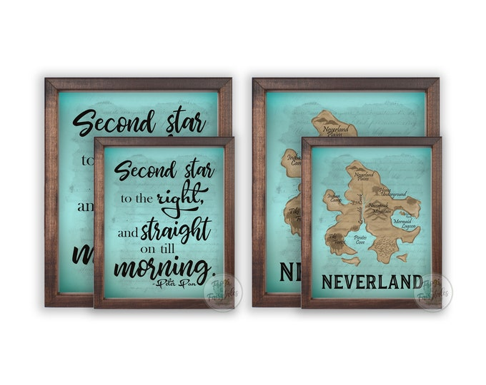Neverland Map Second Star to the Right Wooden Wall Art Set