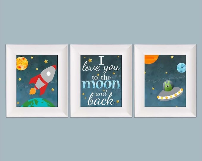 Outer Space Rocket Ship I Love You to the Moon and Back Photo Paper Prints Set, Free Shipping