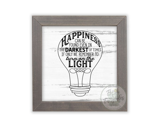 Happiness Can Be Found Even in the Darkest of Times Rustic White Wooden Framed Wall Art