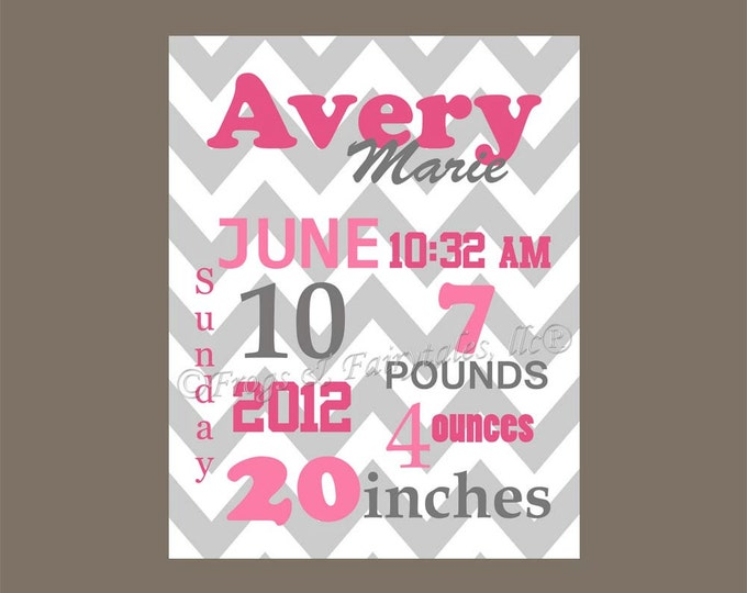 Pink Gray Chevron Birth Information Canvas Wall Art Print