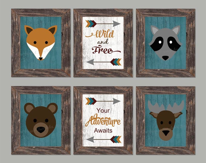 Woodland Animals Tribal Arrows Photo Paper Print Set, Free Shipping