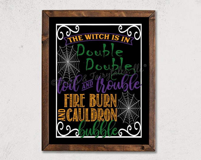 Double Double Toil and Trouble Halloween Wooden Framed Canvas Wall Art