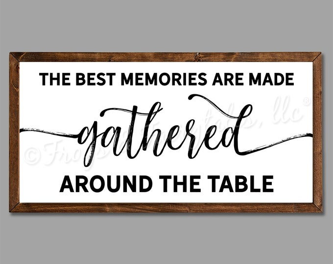 "The Best Memories are Made Gathered Around the Table 36""x18"" Dinning Room Sign Wooden Framed Canvas Print"