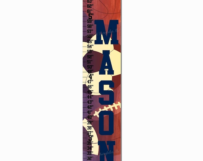 Vintage Sports Canvas Growth Chart Print
