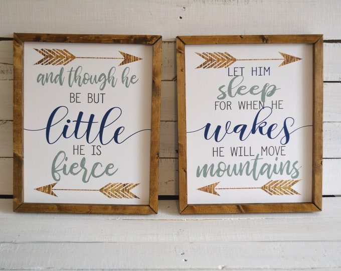 And Though He Be But Little Let Him Sleep for When He Wakes He Will Move Mountains Wooden Framed Canvas Print