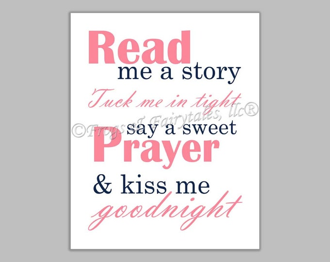 Read Me a Story Tuck Me in Tight Say a Sweet Prayer and Kiss Me Goodnight pink navy canvas print wall art