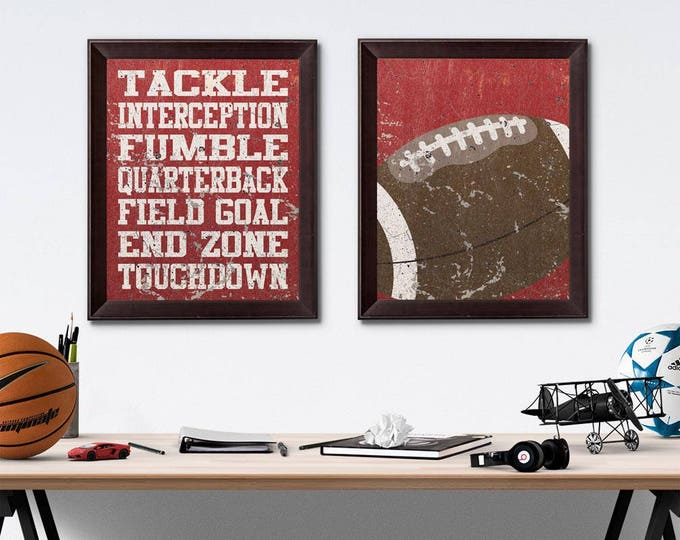 Football Vintage Weathered Wall Art Paper Prints Free Shipping