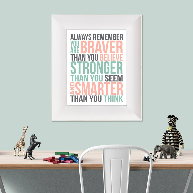 Always Remember Christopher Robin Quote Coral Mint Grey image 0