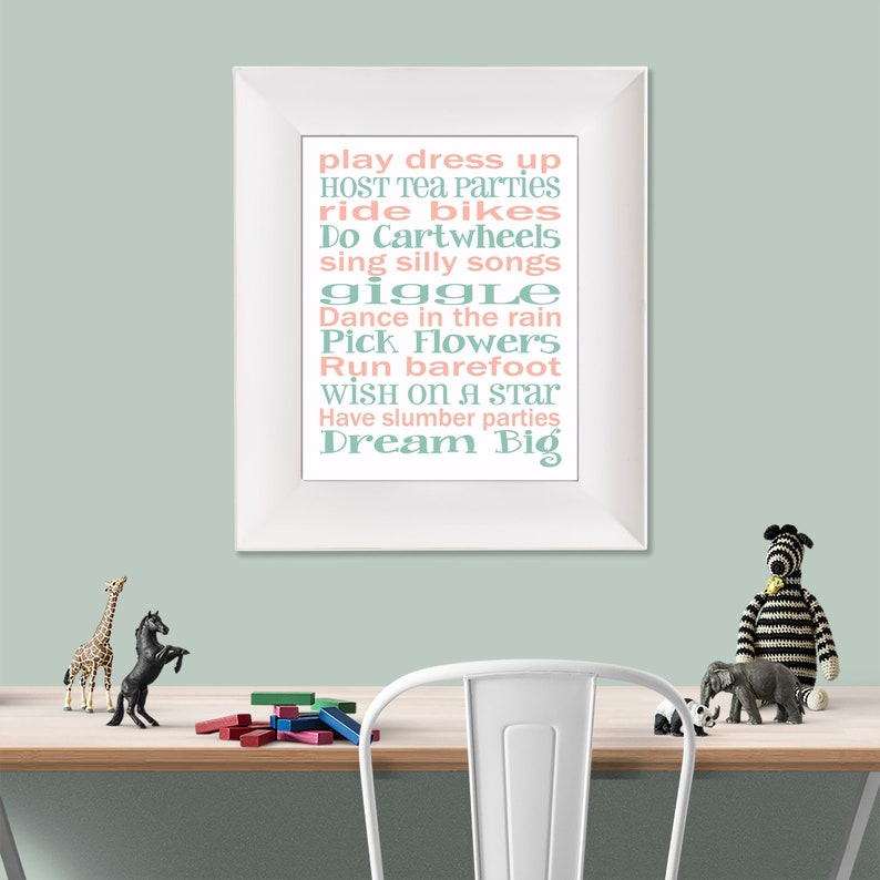 Play Dress Up Dream Big White Coral and Mint Green Typography image 0