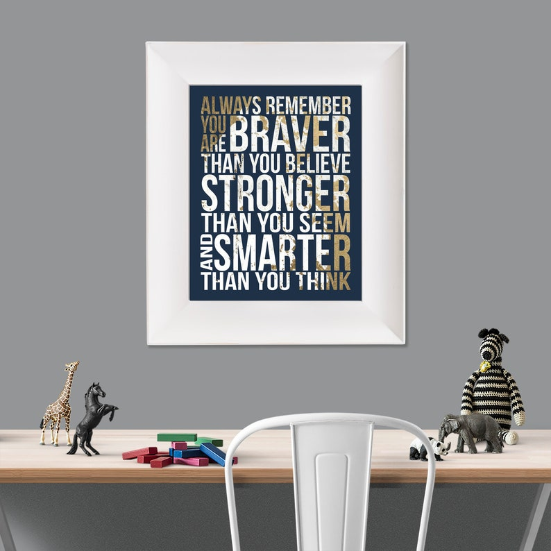 Always Remember Christopher Robin Quote Gold White Navy image 0