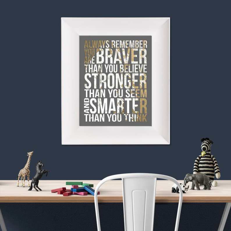 Always Remember Christopher Robin Quote Gold White Grey image 0