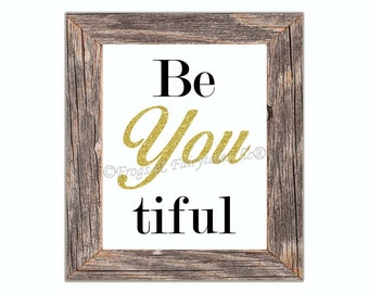Be You Beautiful White Gold Paper Wall Art Print