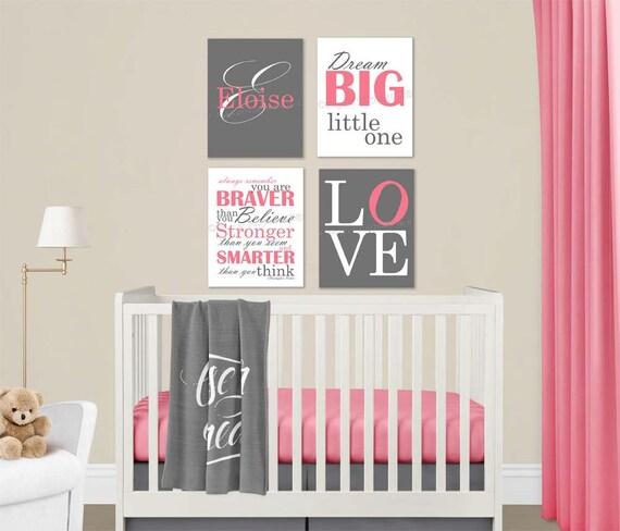 Baby Mädchen Kinderzimmer Rosa grau Leinwand Wand Kunst Liebe Dream Big  Name Christopher Robin Zitat