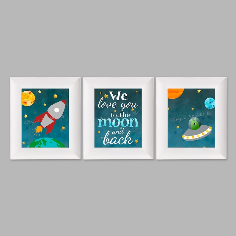 We Love You to the Moon and Back Outer Space Set of Three image 0
