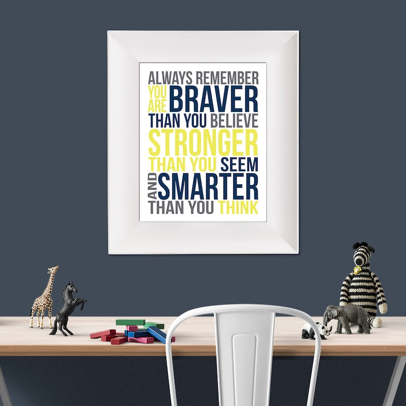 Always Remember Christopher Robin Yellow Navy and Grey image 0