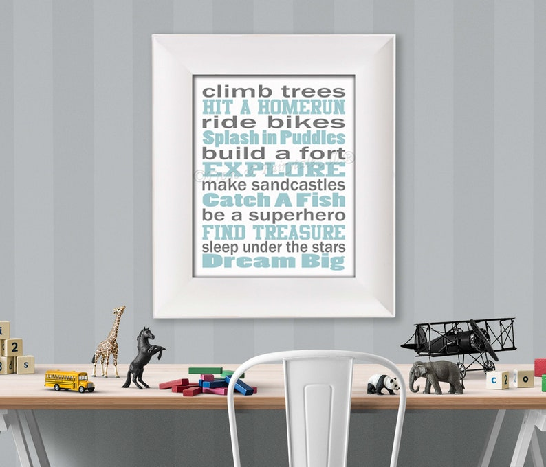 Climb Trees Light Blue Grey and White Typography Digital image 0