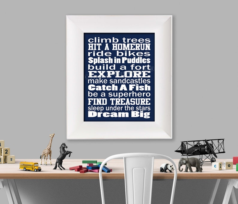 Climb Trees Navy and White Typography Digital Download image 0