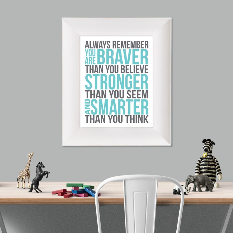 Always Remember Christopher Robin Quote Aqua Grey White image 0