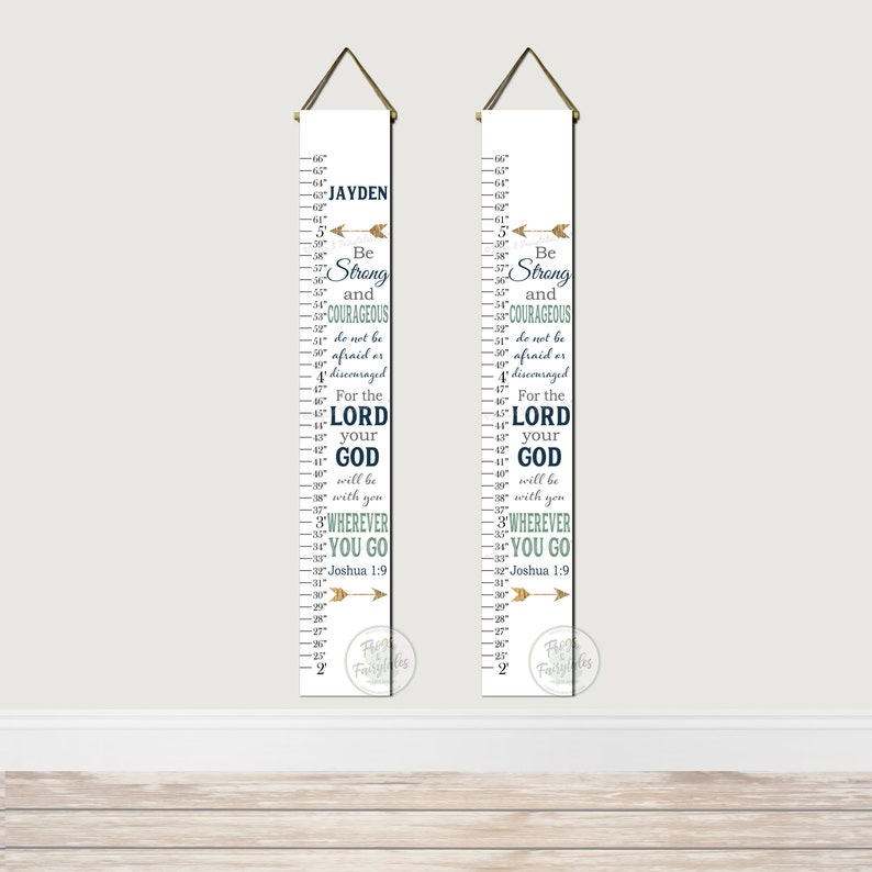 Be Strong and Courageous Joshua 1:9 Canvas Growth Chart Navy Sage Gray