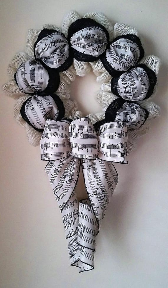 Contemporary And Modern Music Notes Burlap Wreath Wall Or Door | Etsy