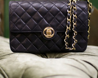 f2acbae62695 Vintage Chanel Black Quilted Lambskin Leather Shoulder Mini Flap Bag