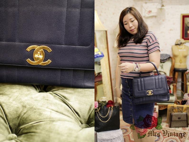 ba68e21b9997 Vintage Chanel Navy Purple Caviar Jumbo Kelly Classic Bag Rare | Etsy